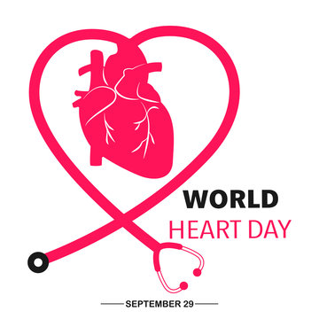 World heart day banner with Heart sign and stethoscope sign on white background vector illustration