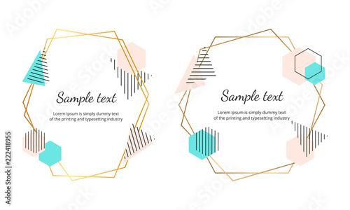 polygonal frames with geometric shapes modern banner design