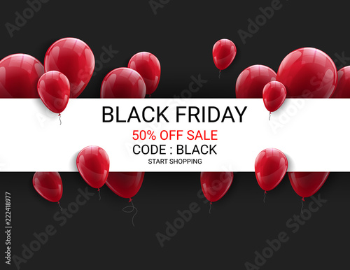 black friday sale flyer template dark background with red balloons