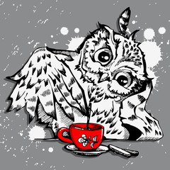 Owl and coffee cup hipster print