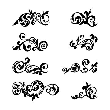 Collection black vintage decorative element for any design for you. Can be used for wedding, romantic invitation vignette, congratulation and other design.