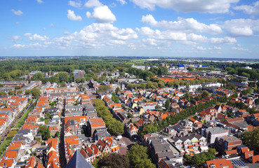 The city of Delft in the Netherlands, seen from the tower of the New Church.