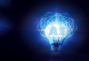 Creative circuit AI lamp, Technology and artificial intelligence concept