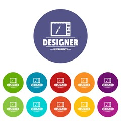 Designer shop icons color set vector for any web design on white background