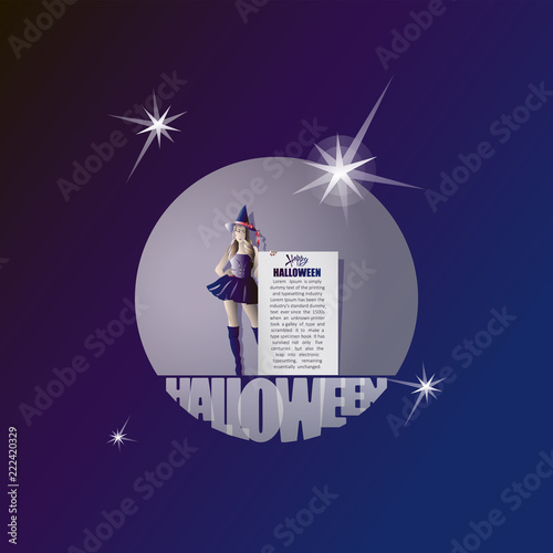 happy halloween witch and message banner poster postcard design