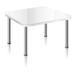 Modern square table with white glossy surface, chrome table legs and mirror shadow.