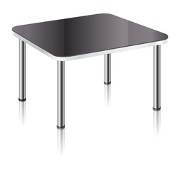Modern square table with black glossy surface, chrome table legs and mirror shadow.