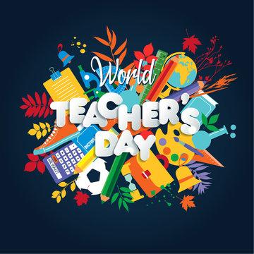Happy Teacher s Day poster concept. World celebration.