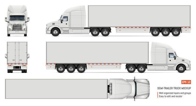 Realistic white truck vector illustration