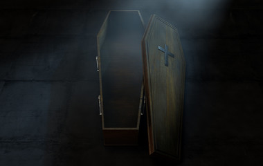 Open Coffin And Crucifix Fototapete