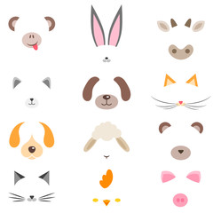 set of masks of cute cartoon animals