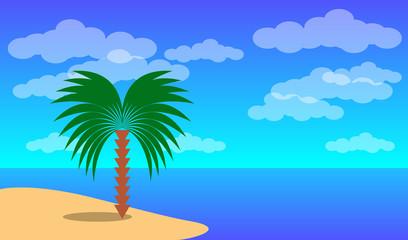 Sea landscape. Blue sea and palm tree ashore