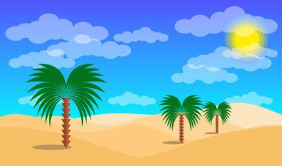 Desert landscape with palms and sand desert