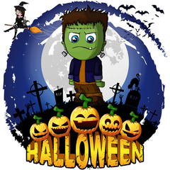 Halloween Design template with Frankenstein. Vector illustration.
