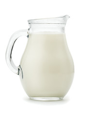 Natural whole milk in a  glass jug
