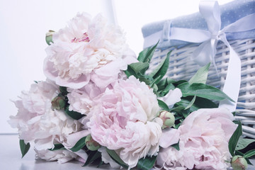 Bouquet of gently pink peonies on a white background and a basket
