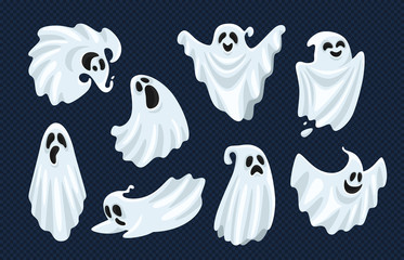 Ghost character. Halloween scary ghostly monster, dead boo spook and spooky fly anima isolated cartoon vector set Wall mural