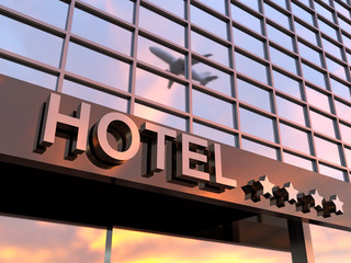 shiny hotel sign with stars Wall mural