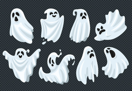 Spooky halloween ghost. Fly phantom spirit with scary face. Ghostly apparition in white fabric vector illustration set