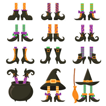 Scary witch legs. Halloween witches leg stockings and striped dress. Vintage witchcraft cauldron and feet boots cartoon vector set