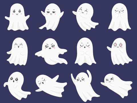 Cute halloween ghosts. Frightened funny ghost, curious spook and smiling ghostly character cartoon vector illustration