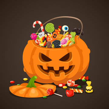 Halloween candies in pumpkin bag. Sweet lollipop candy for kids. Trick or treat, isolated children sweets vector illustration