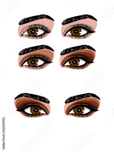 Vector color illustration of woman's eye makeup. Smokey makeup of eyes of different colors. Set of different types of shadows for evening make-up
