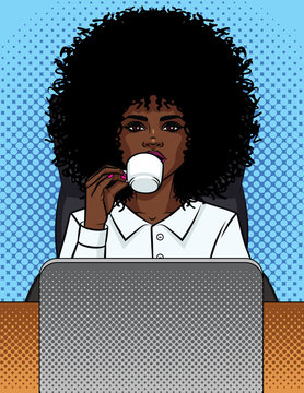 Vector illustration of a comic pop art style business woman sitting in an office and drinking coffee. African American girl secretary in an office chair behind a computer. Office worker woman