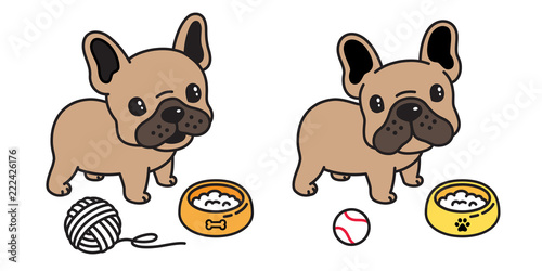 Dog Vector French Bulldog Icon Cartoon Logo Ball Food Bowl Character