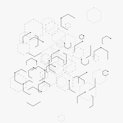 Abstract vector illustration with hexagons, lines and dots on white background. Hexagon infographic. Digital technology, science or medical concept. Hexagonal geometric vector background.