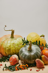 Wall Murals Melon autumnal decoration with pumpkins, pears and firethorn berries on table