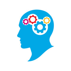 Silhouette human head with gears. Thinking brain vector illustration