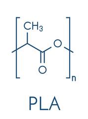 Fototapeta Polylactic acid (PLA, polylactide) bioplastic, chemical structure. Compostable polymer used in medical implants, 3D printing, packaging materials, etc. Skeletal formula. obraz