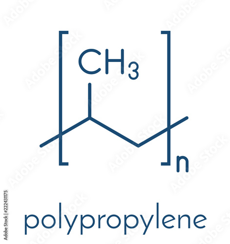 Polypropylene (polypropene, PP) plastic, chemical structure