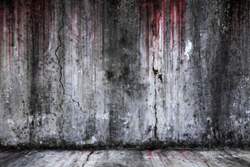 Bloody background scary old cement wall and floor, concept of horror and Halloween Wall mural