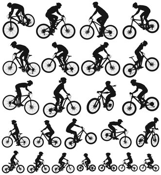 Bicycle vector silhouette collection of active people men women teen and children riding mountain bikes