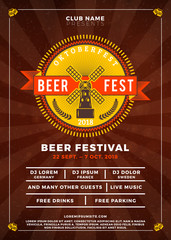 Oktoberfest beer festival celebration. Typography poster or flyer template for beer party. Vector illustration