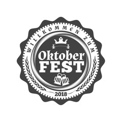 Oktoberfest celebration. Beer festival retro style badge, label, emblem. Black on white background. Vector illustration. Beer label template