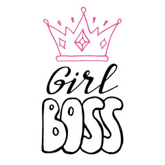 Girl power, feminism quotes. Doodle vector illustrations