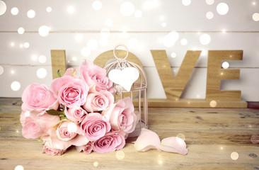Rosenstrauß rosa - Grußkarte Love