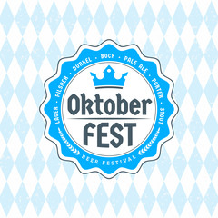 Beer festival Oktoberfest celebrations. Vintage beer badge on the traditional Bavarian linen flag background
