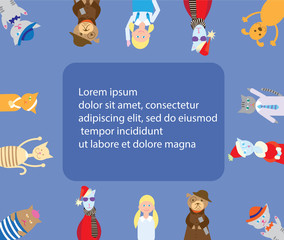 Flat vector card with cats, dogs, girls, text. Picture with funny animals on a голубом background for design.