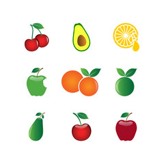 Collection of fruit element design graphic template