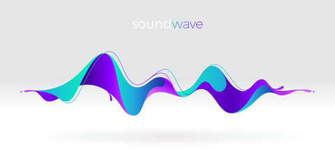 Acrylic Prints Abstract wave Multicolored abstract fluid sound wave. Vector illustration.