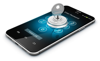Smartphone or mobile phone security concept