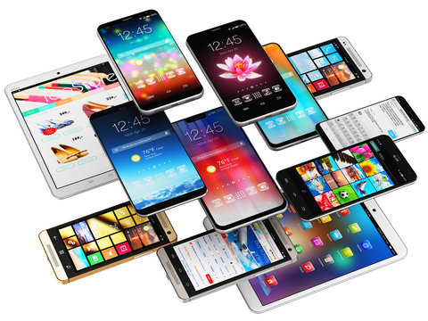 Smartphones, mobile phones and tablet computers