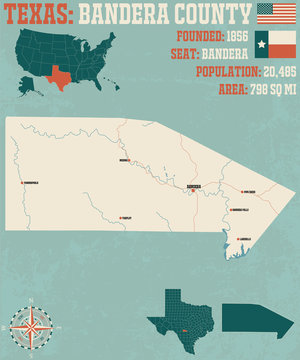 Detailed map of Bandera county in Texas, USA
