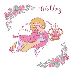 Happy weddings. Vector illustration. Wedding ceremony.  Wedding card, wedding invitation.