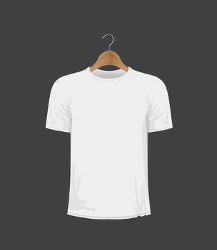 white t-shirt on a coat hanger