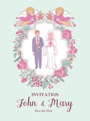 Happy weddings. Vector illustration. Wedding ceremony.  Wedding card, wedding invitation.